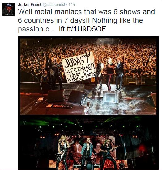 Foto pagina oficiala Twitter Judas Priest