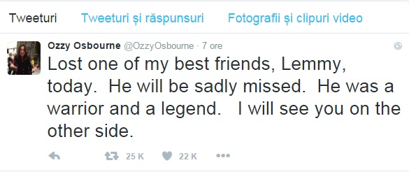 ozzy osbourne on lemmy's death